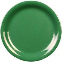 7 1/4 inch Green Narrow Rim Melamine Plate - 12/Pack