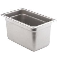 1/4 Size Standard Weight Anti-Jam Stainless Steel Steam Table / Hotel Pan - 6 inch Deep
