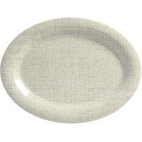 American Metalcraft DPL12LN Jane Casual 12 inch x 9 inch Linen Oval Wide Rim Melamine Platter