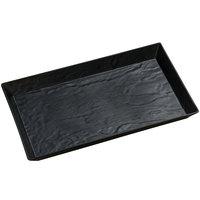 American Metalcraft FSMEL21 21 inch x 13 inch Black Faux Slate Rectangular Melamine Platter