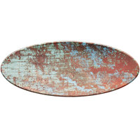 American Metalcraft RM25 25 1/2 inch x 10 1/4 inch Faux Reclaimed Wood Melamine Oval Serving Board