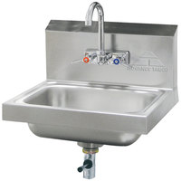 Advance Tabco 7-PS-67 Hand Sink with Splash Mount Faucet and Lever Operated Drain - 17 1/4 inch x 15 1/4 inch