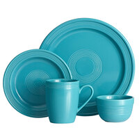 Acopa Capri Caribbean Turquoise China Dinnerware Set with Service for 12