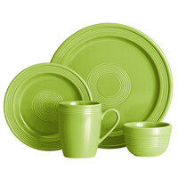 Acopa Capri Bamboo Green China Dinnerware Set with Service for 12 - 48/Pack