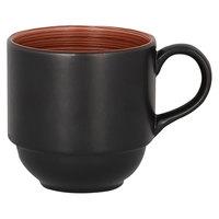 RAK Porcelain TRCLSC20BW Trinidad 6.75 oz. Walnut and Black Stackable Porcelain Cup - 12/Case