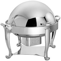 Oneida K0060003 Ouverture 4 Qt. Round Stainless Steel Roll Top Chafer with 180 Degree Roll Top and Fuel Stand