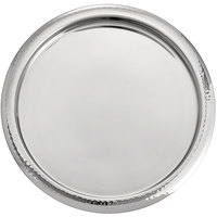 Oneida J0851624A Staccato 14 inch Round Bright Stainless Steel Hammered Wide Rim Serving Tray