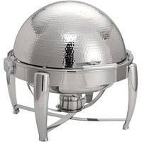 Oneida J0850002 Staccato 8 Qt. Round Bright Hammered Stainless Steel Chafer with Hinged Lid and Fuel Stand