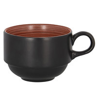 RAK Porcelain TRCLSC23BW Trinidad 7.8 oz. Walnut and Black Stackable Porcelain Cup - 12/Case