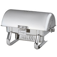 Oneida J0156401A Charleston 8 Qt. Oblong Bright Stainless Steel Roll Top Chafer with 180 Degree Vented Roll Top Cover and Fuel Stand