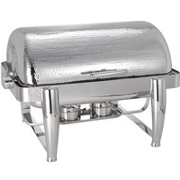 Oneida J0850001 Staccato 8 Qt. Oblong Bright Hammered Stainless Steel Chafer with Hinged Lid and Fuel Stand