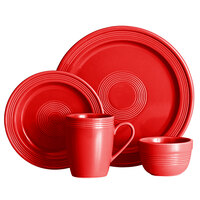 Acopa Capri Passion Fruit Red China Dinnerware Set with Service for 12 - 48/Pack