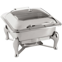 Oneida 88003800A Jazz 6 Qt. Square Stainless Steel Chafer with Glass Top, Hinged Lid, and Fuel Stand