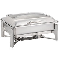 Oneida J0070001 Alto 8 Qt. Oblong Stainless Steel Chafer with Glass Top, Hinged Lid, and Fuel Stand