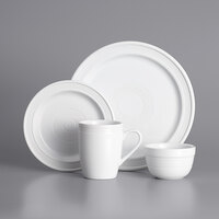 Acopa Capri Coconut White China Dinnerware Set with Service for 12