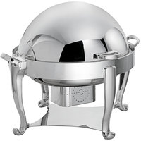 Oneida K0060002 Ouverture 8 Qt. Round Stainless Steel Roll Top Chafer with 180 Degree Roll Top and Fuel Stand