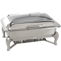Oneida 88003801A Jazz 8 Qt. Oblong Stainless Steel Chafer with Glass Top, Hinged Lid, and Fuel Stand