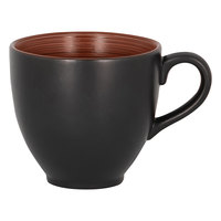 RAK Porcelain TRCLCU20BW Trinidad 6.75 oz. Walnut and Black Porcelain Cup - 12/Case