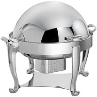 Oneida J0060002 Ouverture 8 Qt. Round Stainless Steel Roll Top Chafer with 180 Degree Roll Top Cover and Fuel Stand
