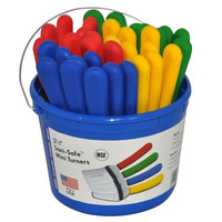 Dexter-Russell 16183 Bucket of 36 Sani-Safe 2 1/2 inch x 2 1/2 inch Solid Mini Turners - Plastic Handle