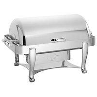 Oneida K0060001 Ouverture 8 Qt. Oblong Silver Plated Stainless Steel Roll Top Chafer with 180 Degree Roll Top Cover and Fuel Stand