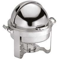 Oneida J0016311A Noblesse 4 Qt. Round Stainless Steel Roll Top Chafer with 90 Degree Roll Top Cover and Fuel Stand