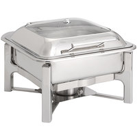Oneida J0070003 Alto 6 Qt. Square Stainless Steel Chafer with Glass Top, Hinged Lid, and Fuel Stand
