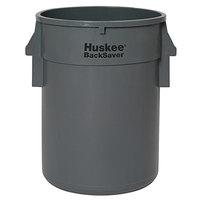 Continental 3210GY Huskee BackSaver 32 Gallon Gray Vented / Ribbed Trash Can