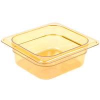 Carlisle 3088313 StorPlus 1/6 Size Amber High Heat Plastic Food Pan - 2 1/2 inch Deep