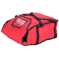 San Jamar PB20-12 20 inch x 18 inch x 12 inch Insulated Red Nylon Pizza Delivery Bag