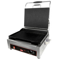 Cecilware SG1LG Single Plus Panini Sandwich Grill with Grooved Grill Surfaces - 120V