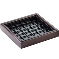 Cal-Mil 330652 6 inch Dark Wood Square Drip Tray