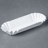 Heavy Weight 6 inch White Paper Fluted Hot Dog Tray - 500/Pack