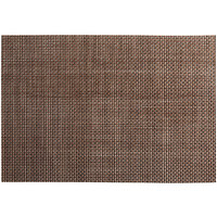 RITZ® 64902 19 inch x 13 inch Brown / Black / Silver 4x4 Basketweave PVC Coated Placemat - 12/Pack