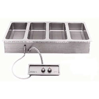 Wells MOD427TDMAF1 4 Well 4/3 Size Drop-In Hot Food Well with Drain Manifolds and Autofill - Single Thermostatic Control Panel