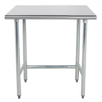 Advance Tabco TGLG-363 36 inch x 36 inch 14 Gauge Open Base Stainless Steel Commercial Work Table