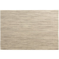 RITZ® 64911 19 inch x 13 inch Oatmeal Grass Cloth PVC Coated Placemat - 12/Pack