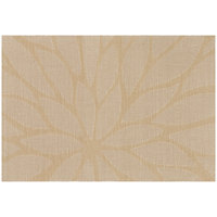 RITZ® 64915 19 inch x 13 inch Taupe Flower PVC Coated Placemat - 12/Pack