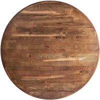 Lancaster Table & Seating 36 inch Round Recycled Wood Butcher Block Table Top with Vintage Finish