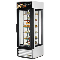 True G4SM-23-RGS-LD White Four Sided Glass Door Refrigerator Merchandiser with Revolving Shelves