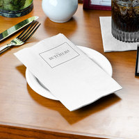 Choice 15 inch x 16 3/4 inch White 1-Ply Customizable Dinner Napkin - 3000/Case