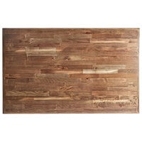 Lancaster Table & Seating 30 inch x 48 inch Rectangular Recycled Wood Butcher Block Table Top with Vintage Finish