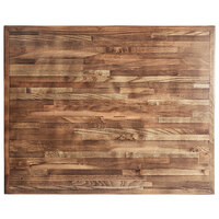 Lancaster Table & Seating 24 inch x 30 inch Rectangular Recycled Wood Butcher Block Table Top with Vintage Finish