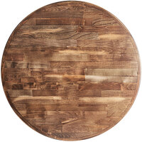 Lancaster Table & Seating 30 inch Round Recycled Wood Butcher Block Table Top with Vintage Finish