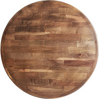 Lancaster Table & Seating 24 inch Round Recycled Wood Butcher Block Table Top with Vintage Finish