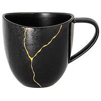 RAK Porcelain KZSWCU15G2 Kintzoo 5.05 oz. Black Porcelain Cup with Gold Detail - 12/Case