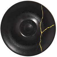 RAK Porcelain KZSWSA15G2 Kintzoo 5 7/8 inch Black Porcelain Saucer with Gold Detail - 12/Case