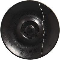 RAK Porcelain KZSWSA12S1 Kintzoo 4 11/16 inch Black Porcelain Saucer with Silver Detail - 12/Case