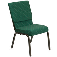 Green Dot Patterned 18 1/2 inch Wide Church Chair with Gold Vein Frame
