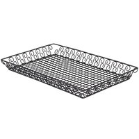 American Metalcraft SBBL13202 Wrought Iron Rectangular Scroll Pastry Basket - 20 inch x 13 inch x 2 inch